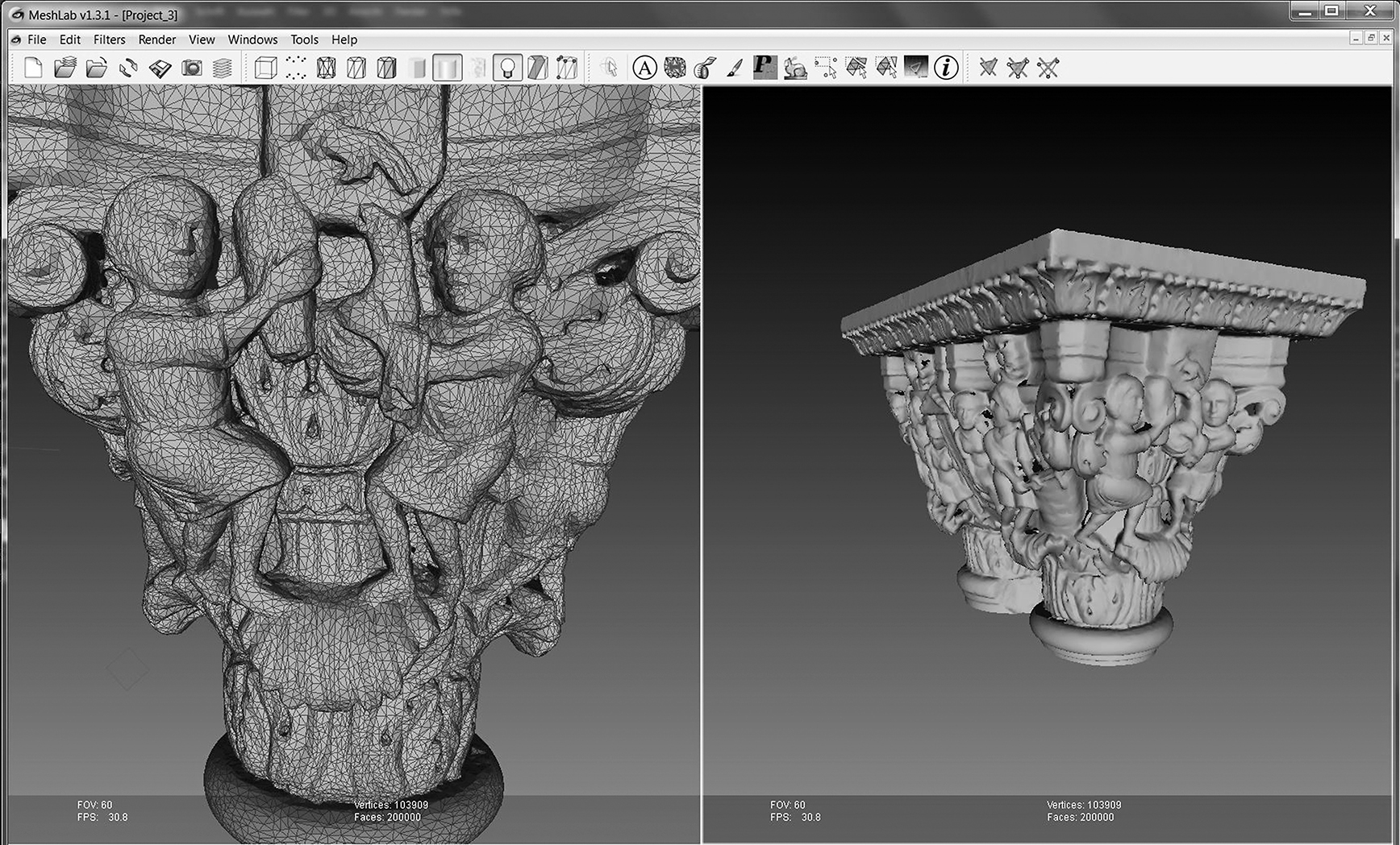 3D-Modell des Genesiskapitells aus dem Kreuzgang von Monreale, visualisiert mit der Software Meshlab (© KHI-MPI / ISTI-CNR)