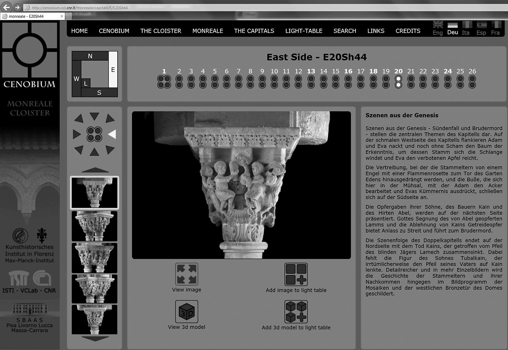 Genesiskapitell aus dem Kreuzgang von Monreale, auf der Webseite CENOBIUM (© KHI-MPI / ISTI-CNR)